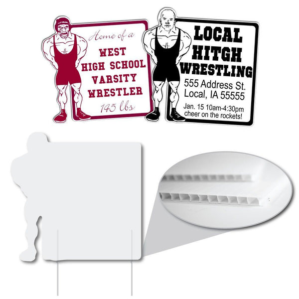 "Wrestler with Rectangle Shaped Sign - 22x22"" - Corrugated Plastic"