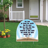 John 3:16 Corrugated Plastic Shaped Yard Sign w/ 2 E-Z Stakes