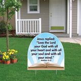 Matthew 22:37 Corrugated Plastic Shaped Yard Sign w/ 2 E-Z Stakes
