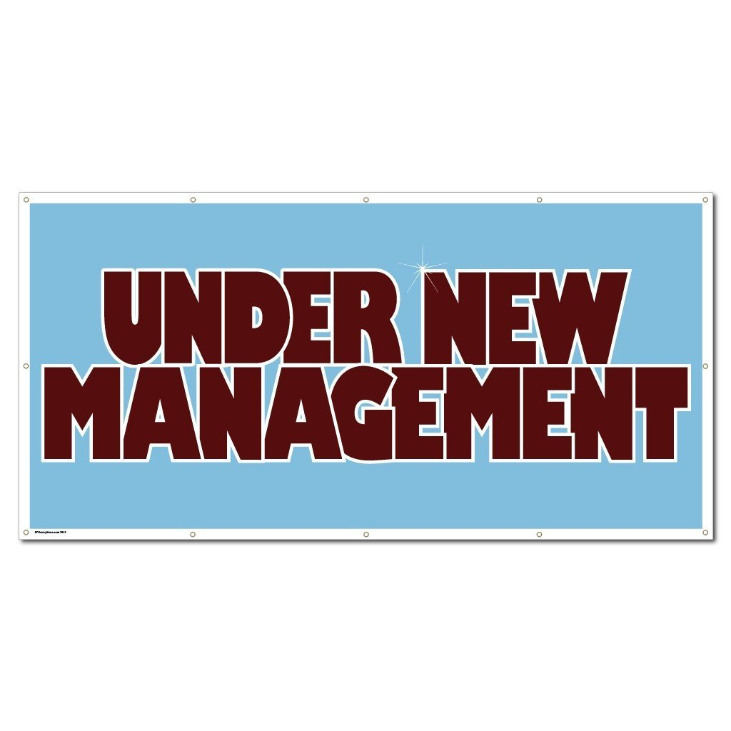 Under New Management Vinyl Banner with Grommets