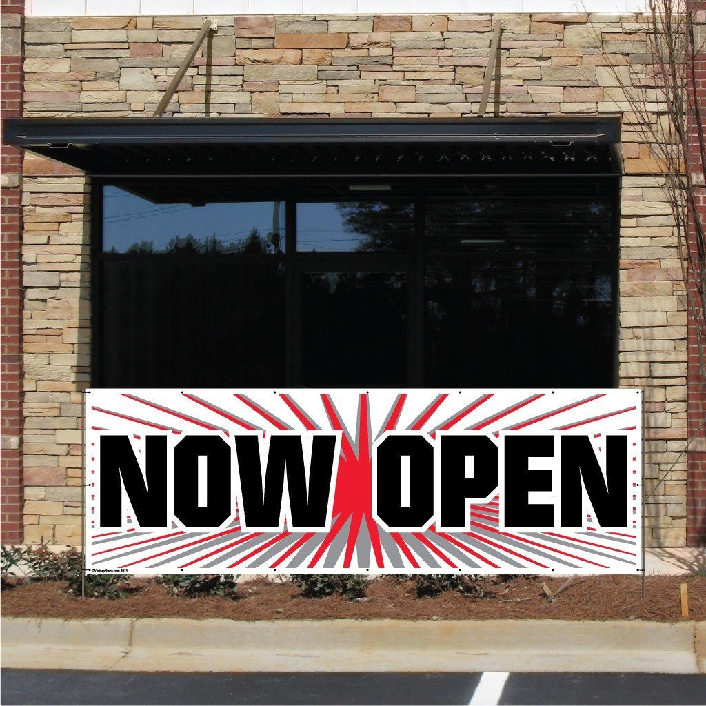 Now Open Vinyl Banner with Grommets