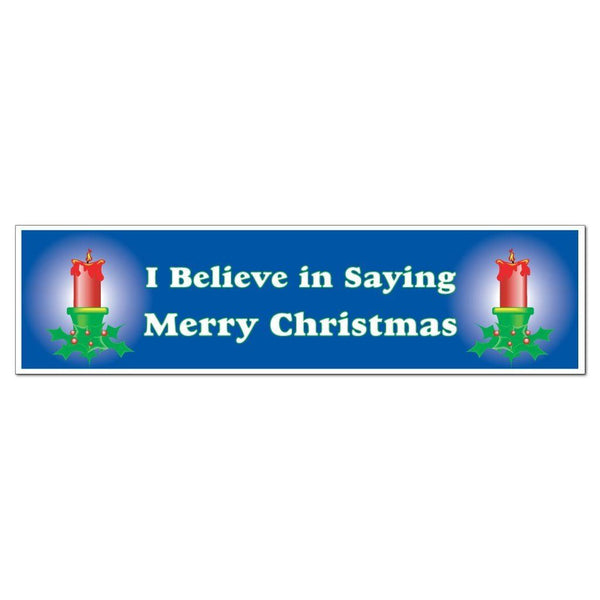 I Believe in Saying Merry Christmas Bumper Magnet with Glowing Candles