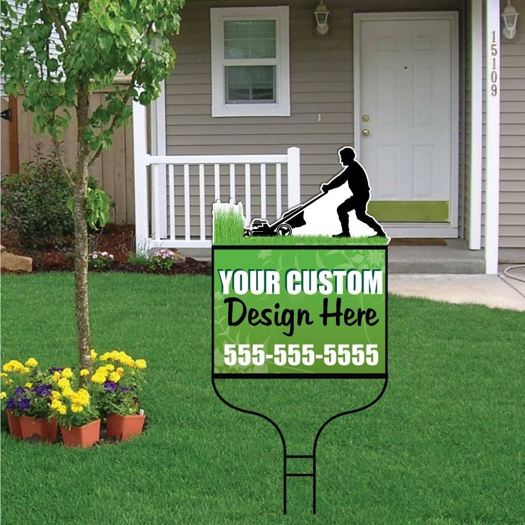 Lawn Mower Over-the-top Yard Sign with Frame