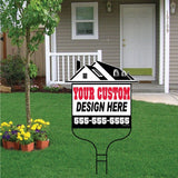 A yard sign of a house shaped yard sign