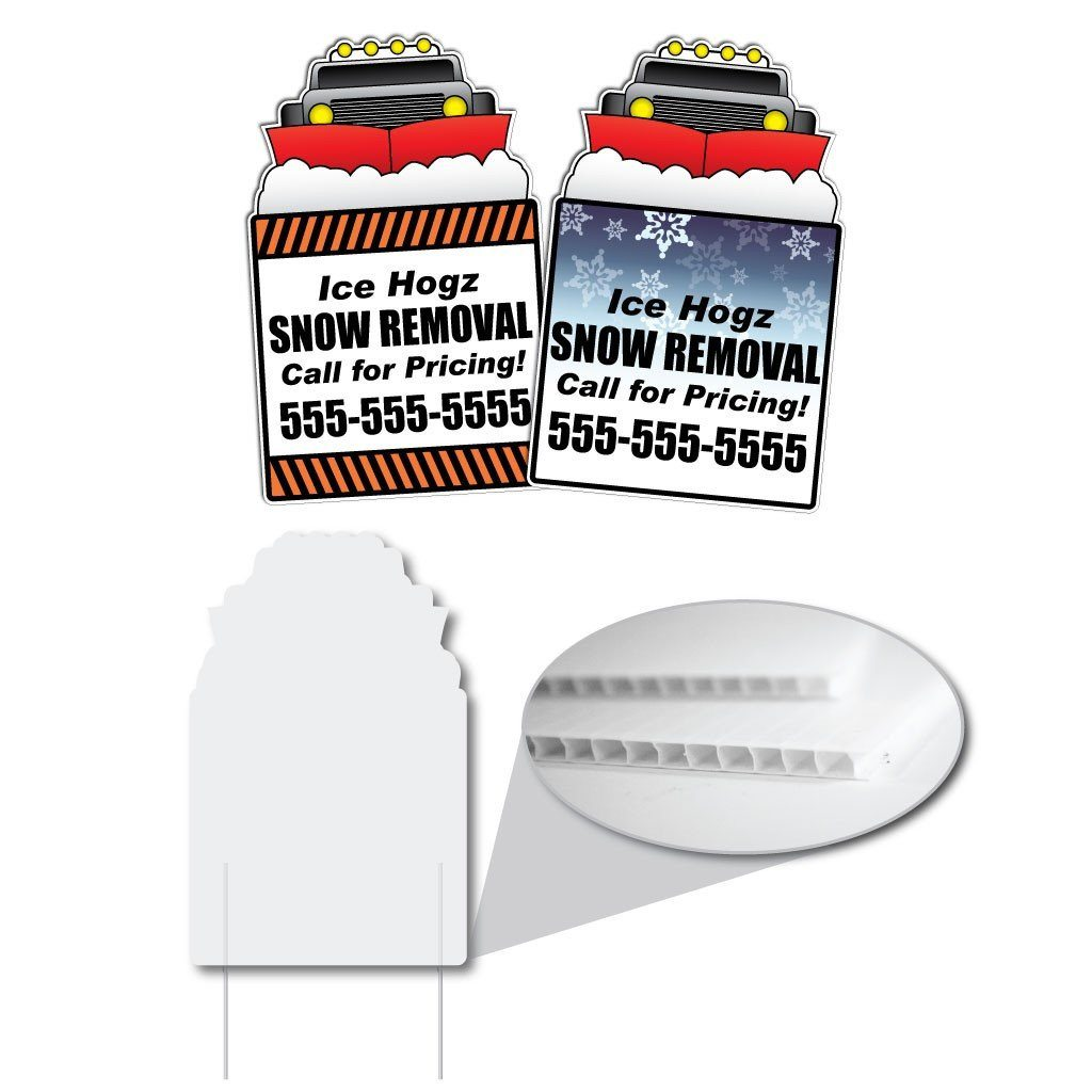Corrugated plastic yard signs for a snow removal business