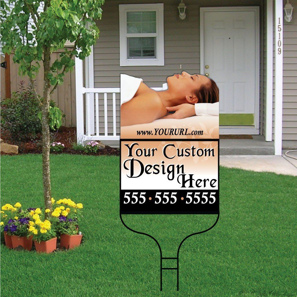 Massage Therapy Shaped Over-the-top Yard Sign with Frame - Woman #2