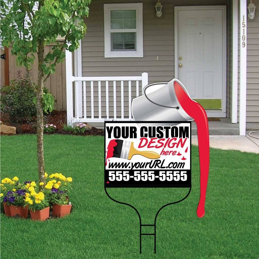 Paint Can Shaped Over-the-top Yard Sign with Frame