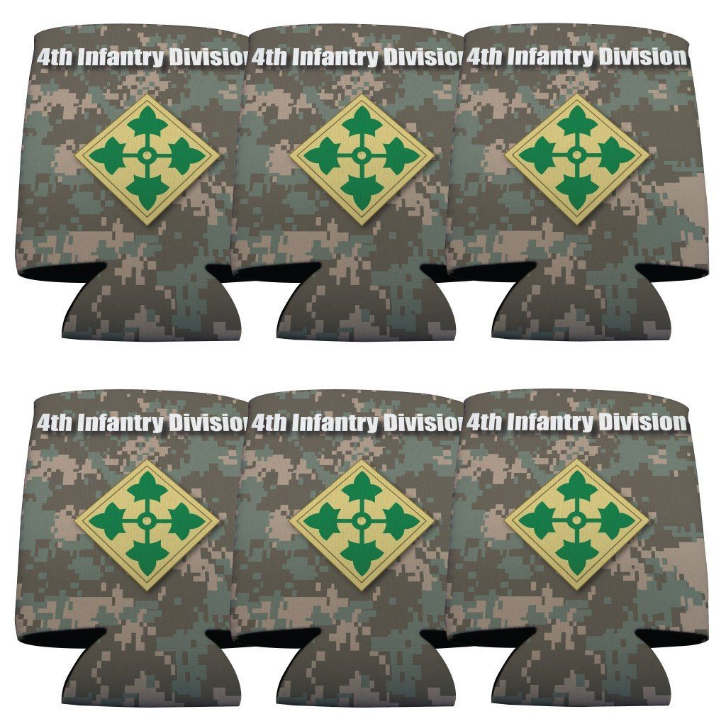 Military 4th Infantry Division Can Cooler Set of 6 - 6 Designs - FREE SHIPPING