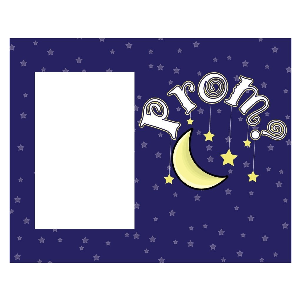 "Promposal Picture Frame - Holds 4x6 Photo - Moon and Stars ""Prom?"""