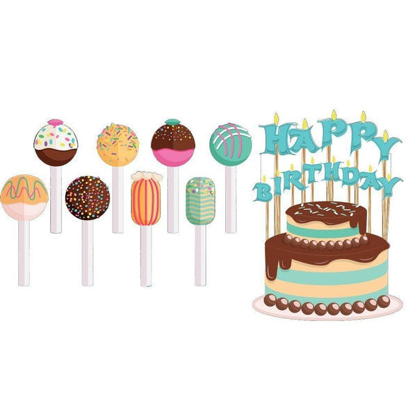 Happy Birthday Pathway Markers - Cake and Cake Pops Yard Decorations -