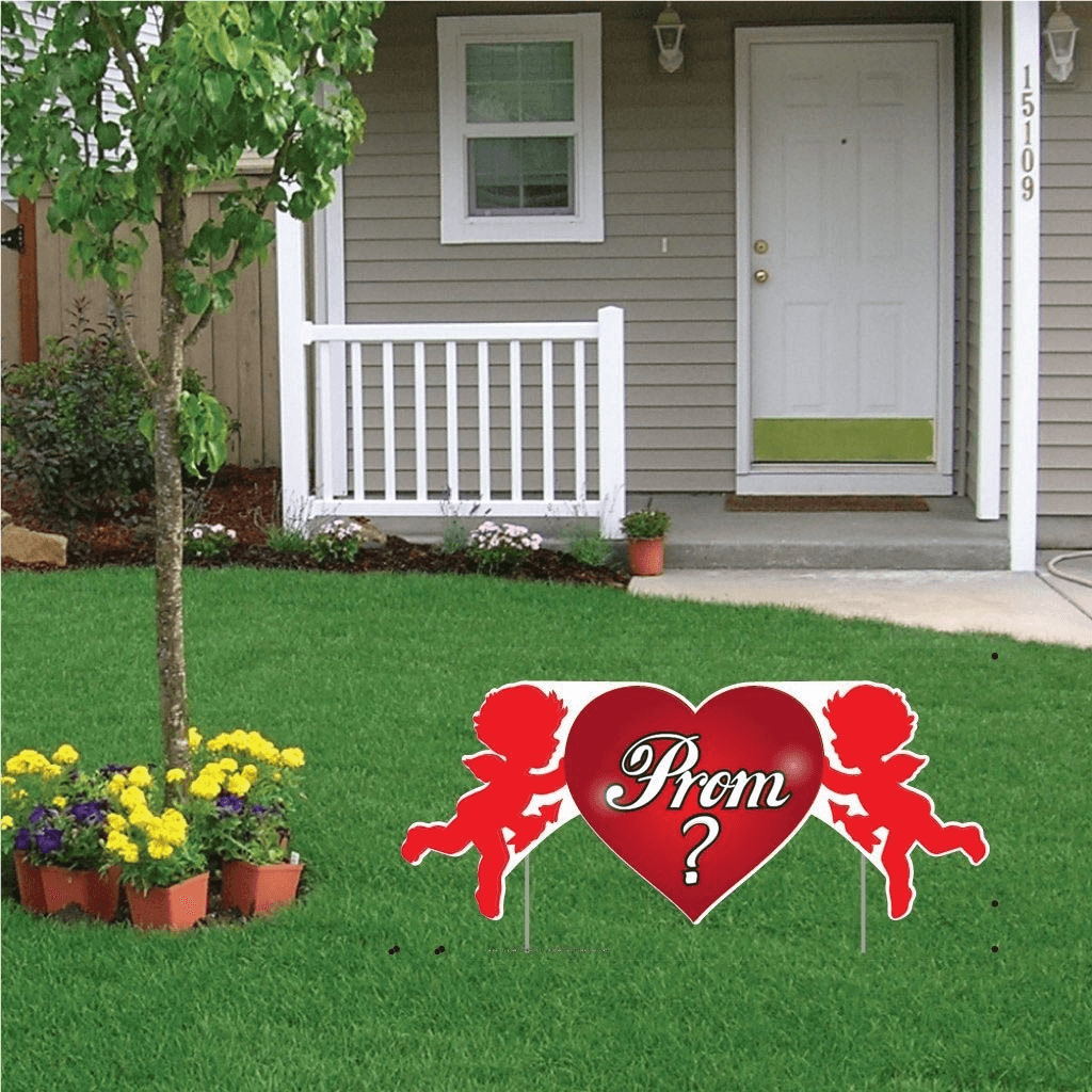 Promposal - Yard Decoration - Prom? Cupid 2' x 4' Yard Sign - FREE SHIPPING