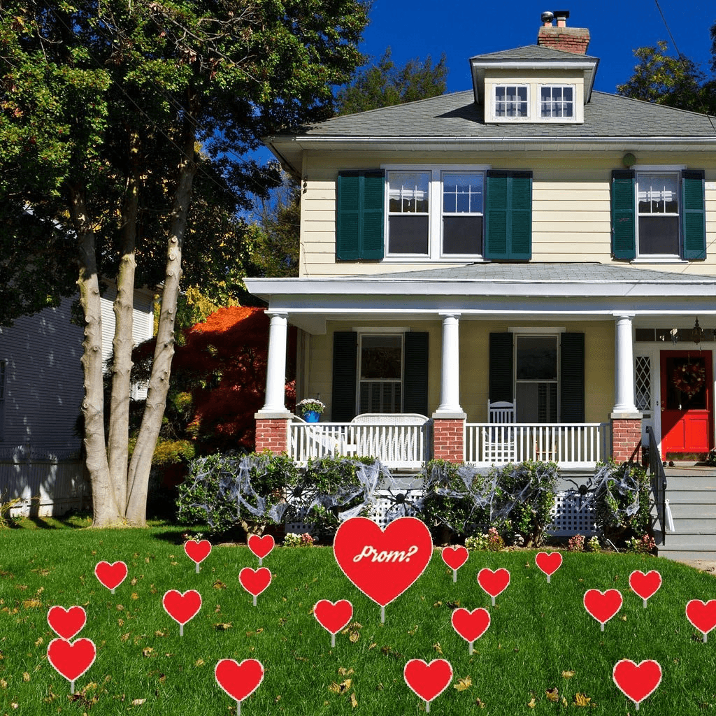 A collection of hearts used for a prom proposal. yard decorations
