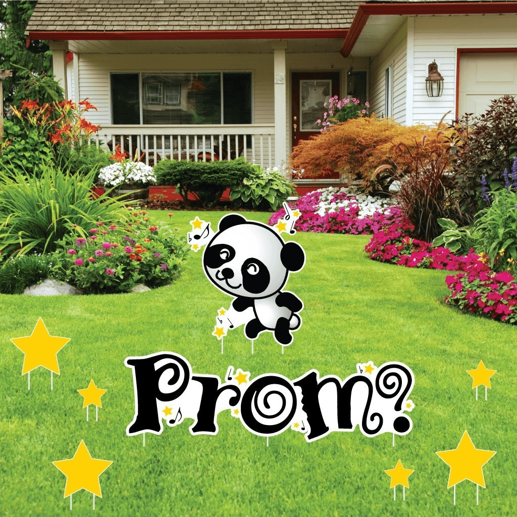 Promposal - Yard Decoration - Dancing Panda with Stars and Music Notes - FREE SHIPPING