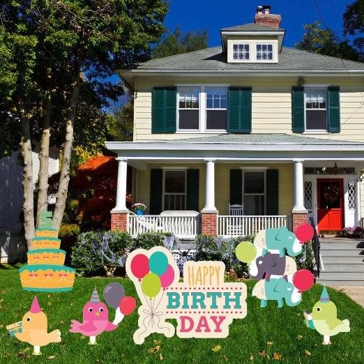 The Front Yard Of A House With An Assortment Small Animals Celebrating Birthday Party