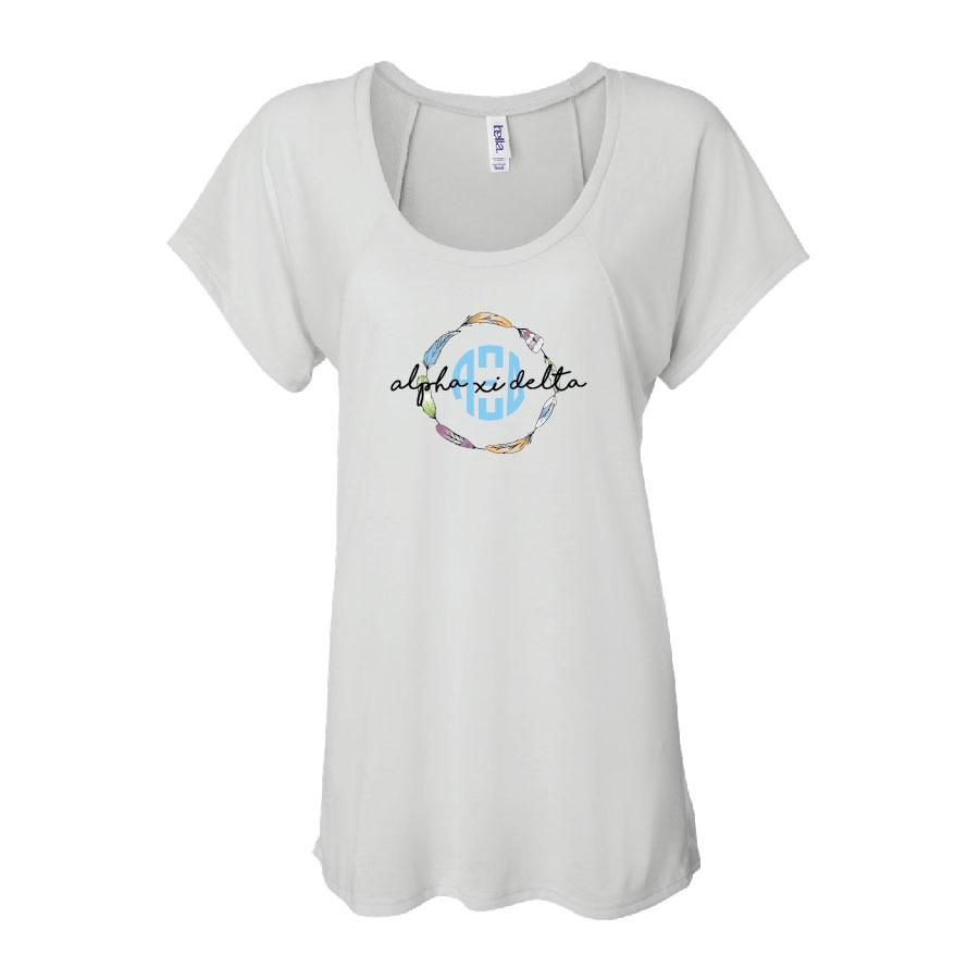 Alpha Xi Delta Women's Raglan T-shirt - Feather Wreath - FREE SHIPPING