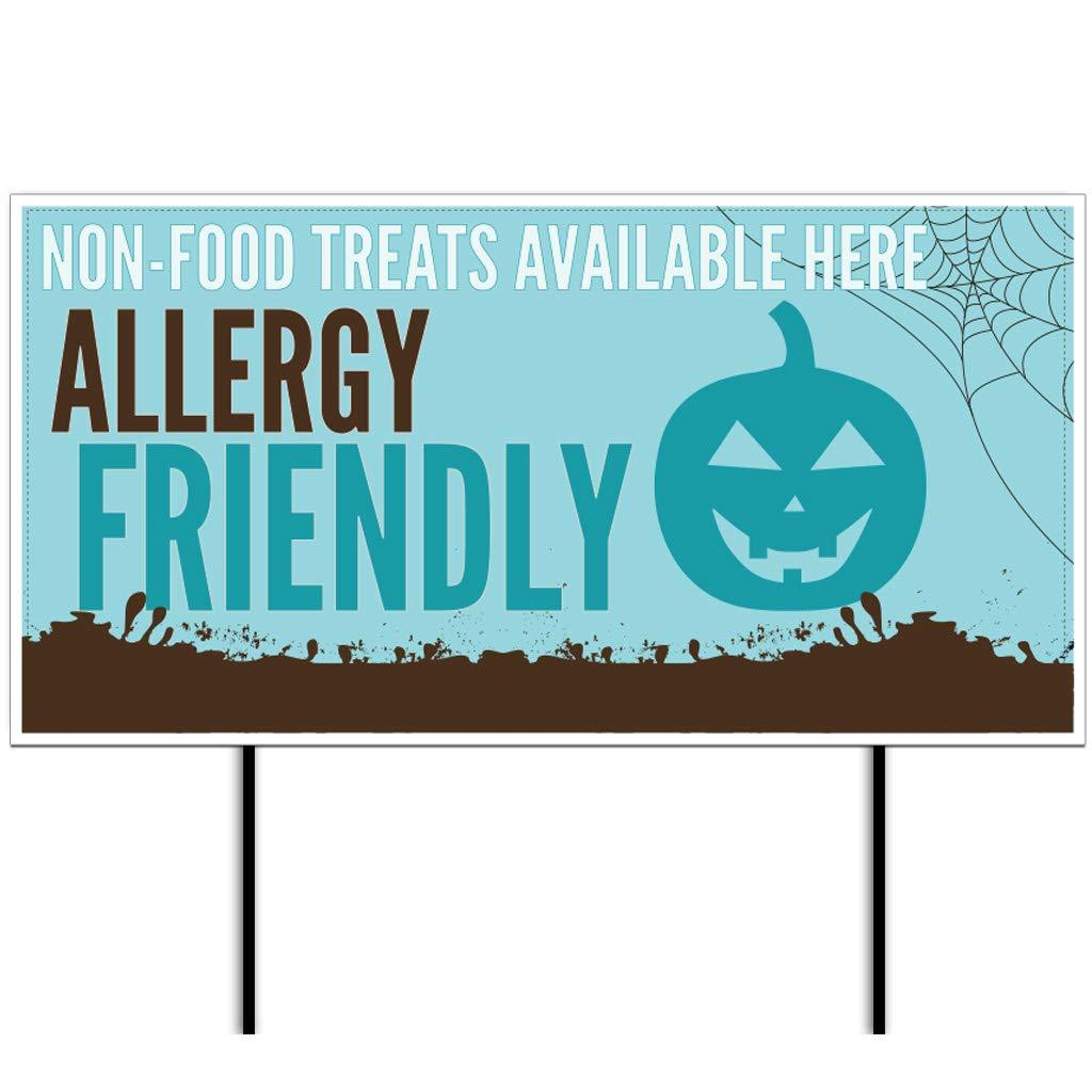 "Teal Pumpkin Allergy Friendly Halloween 12""x24"" Yard Sign Set"