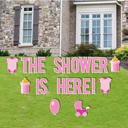 The Shower is Here Girl Baby Shower Yard Decorations - 22 piece set - FREE SHIPPING