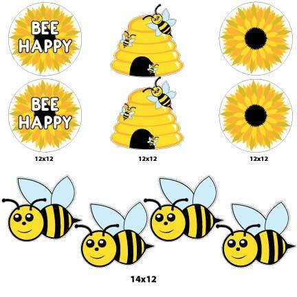 Bee Happy Honey Bee Yard Signs & Decorations Pathway Markers - FREE SHIPPING