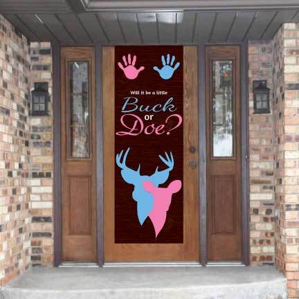 Baby Shower Door Banner - Buck Or Doe Vinyl Door Banner