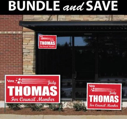 A store front with several campaign signs in view