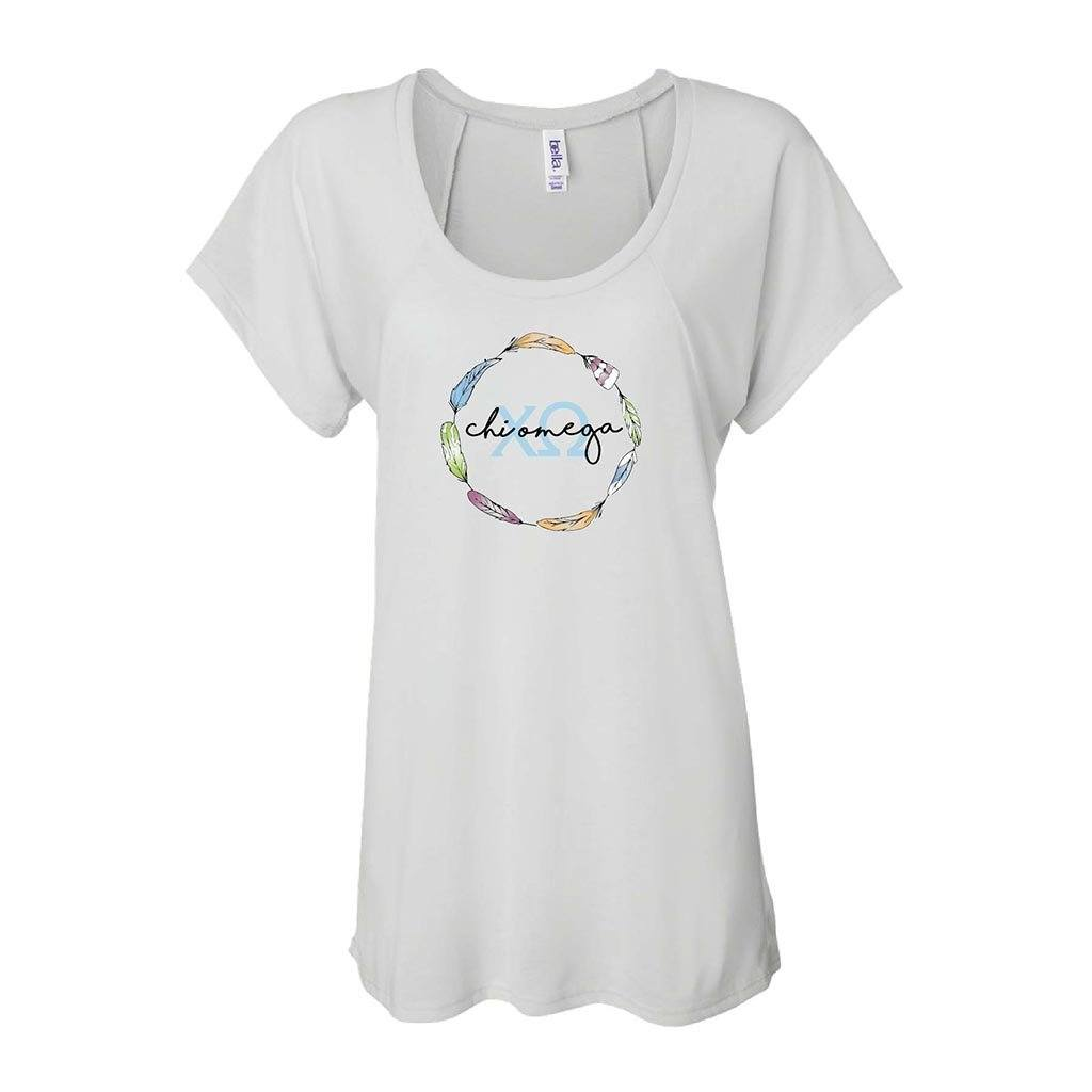 Chi Omega Women's Raglan T-shirt - Feather Wreath