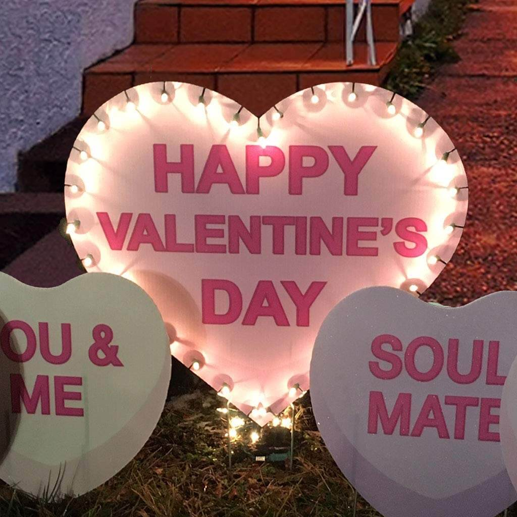 happy valentine's day lighted candy hearts yard decoration