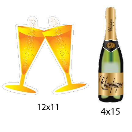 Champagne Bottles and Glasses Yard Decorations - Pathway Markers - FREE SHIPPING