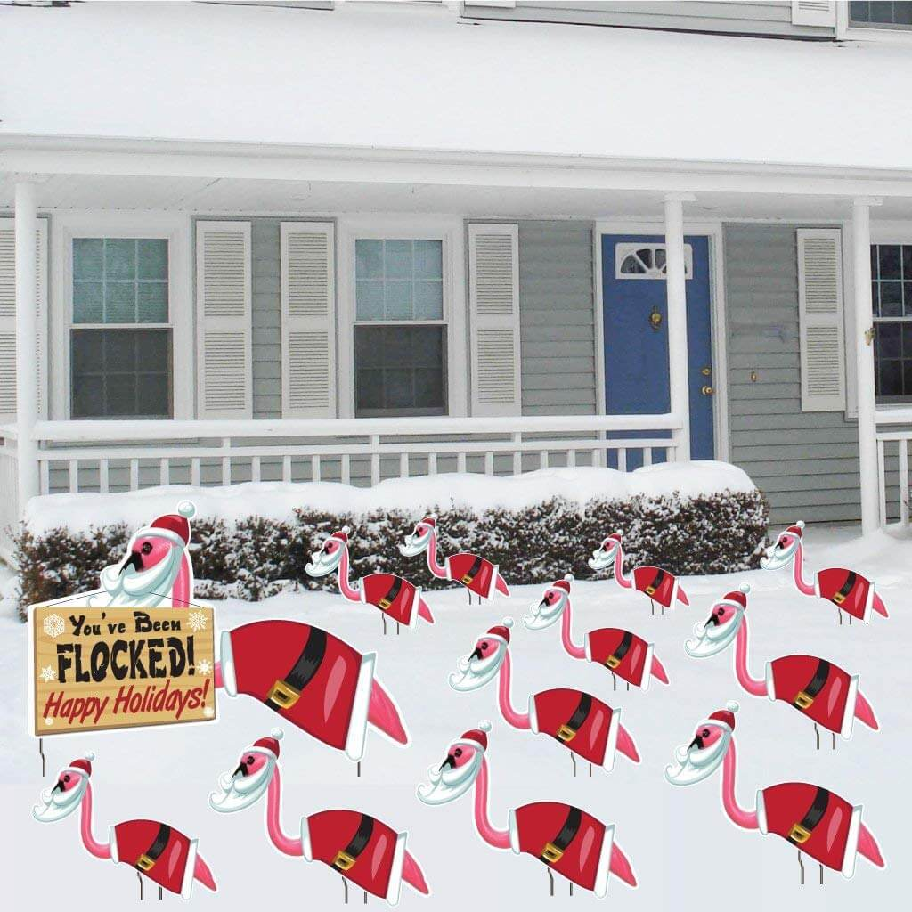 You've Been Flocked! Christmas Flamingos Set of 12