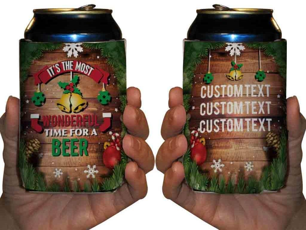 Christmas Can Coolers - Most Wonderful Time for A Beer - FREE SHIPPING
