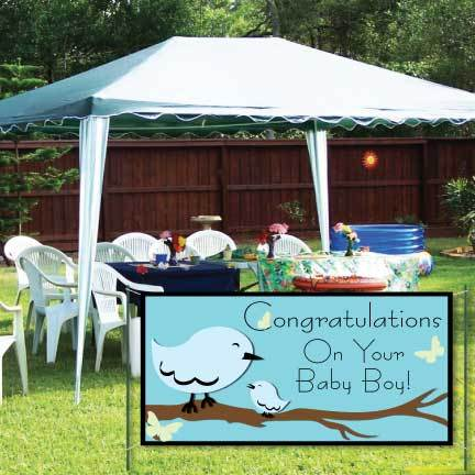 Gender Reveal Banner - Congratulations On Your Baby Boy Vinyl Banner