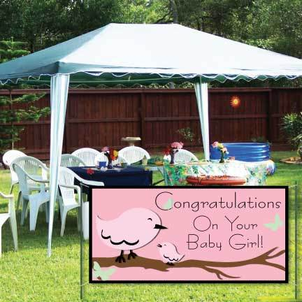 Gender Reveal Banner - Congratulations On Your Baby Girl Vinyl Banner
