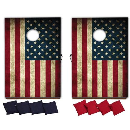 American Flag Cornhole Game - Patriotic Yard Games - FREE SHIPPING