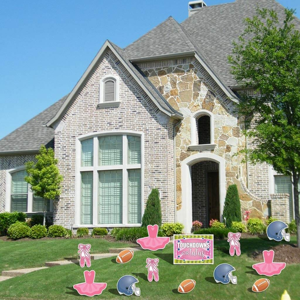 touchdowns or tutus gender reveal yard decoration