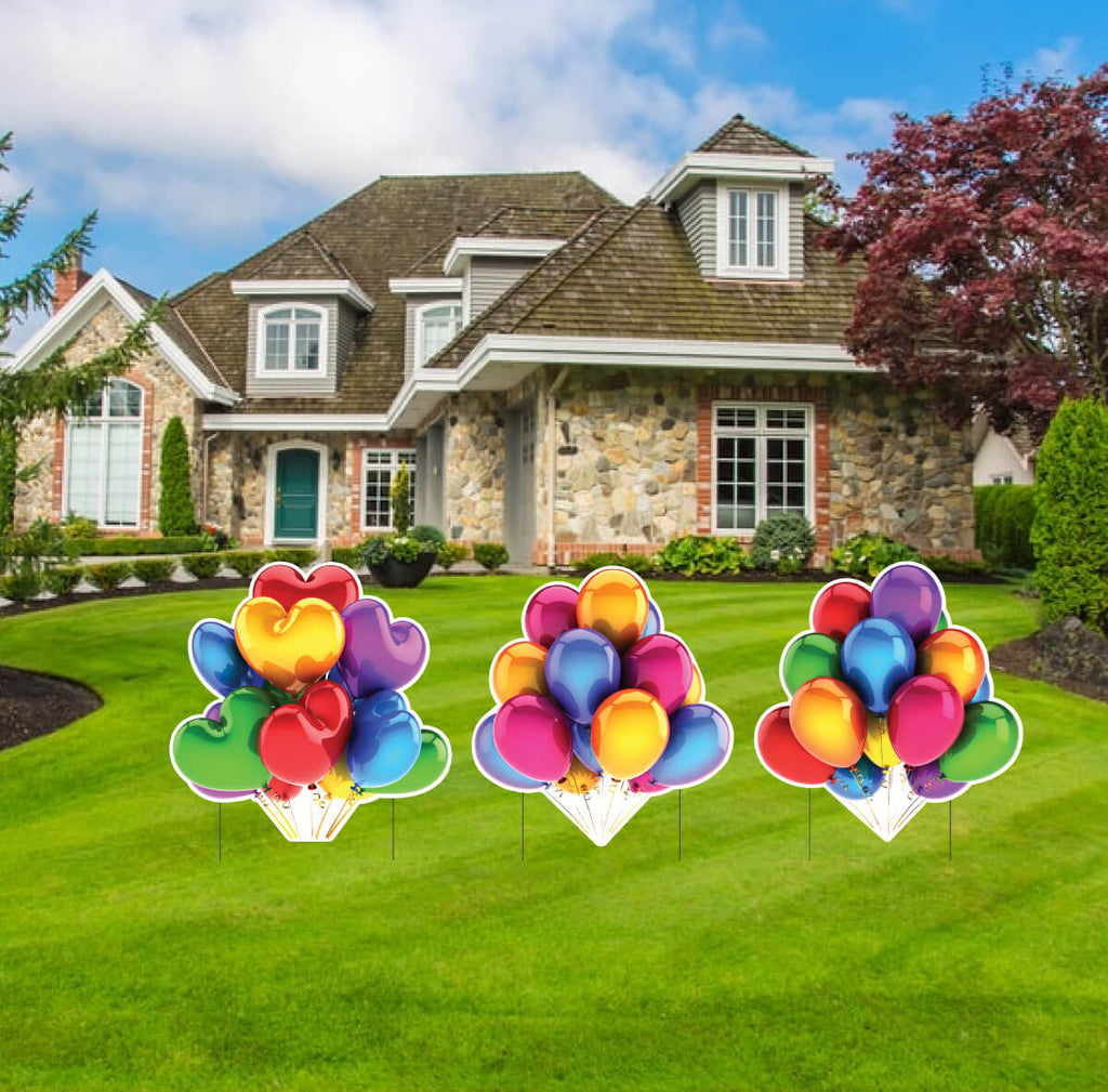 Giant Balloon Clusters Yard Greeting Accessory 3 pc Set w/EZ Stakes (13481)