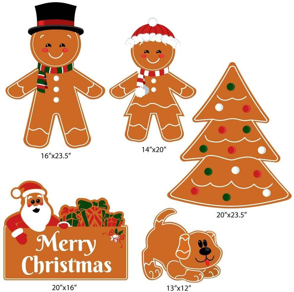 Gingerbread People Family Christmas Yard Decorations 5 piece set