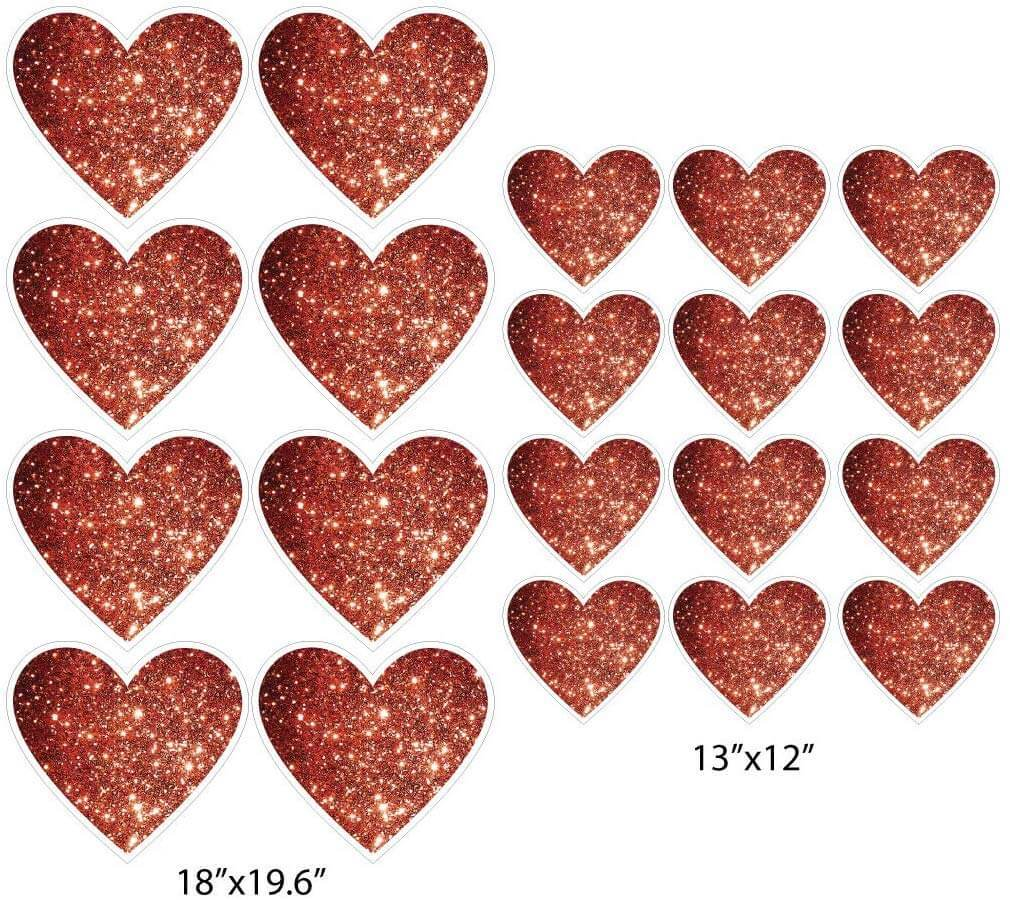 Red Glitter Hearts Valentine's Day Yard Decorations