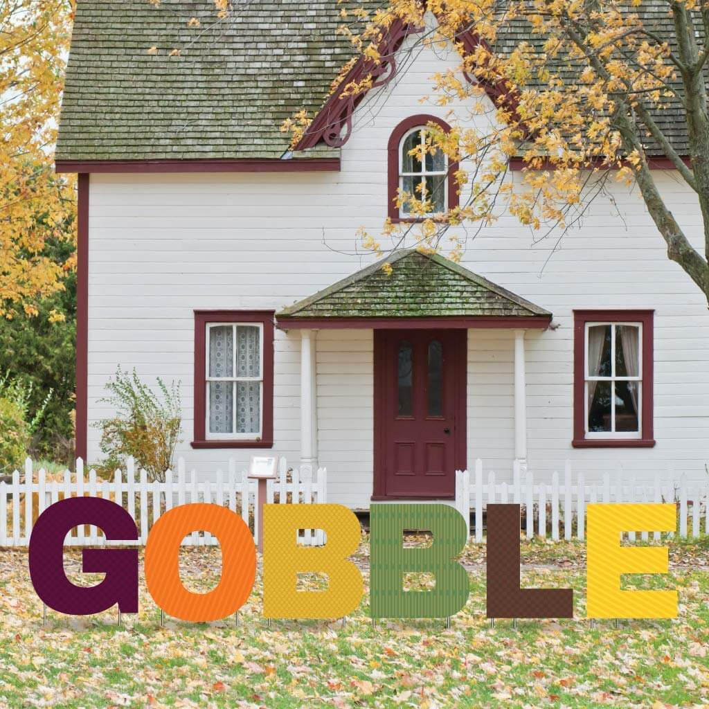 Gobble Thanksgiving Yard Letters 6 piece set with Short Stakes