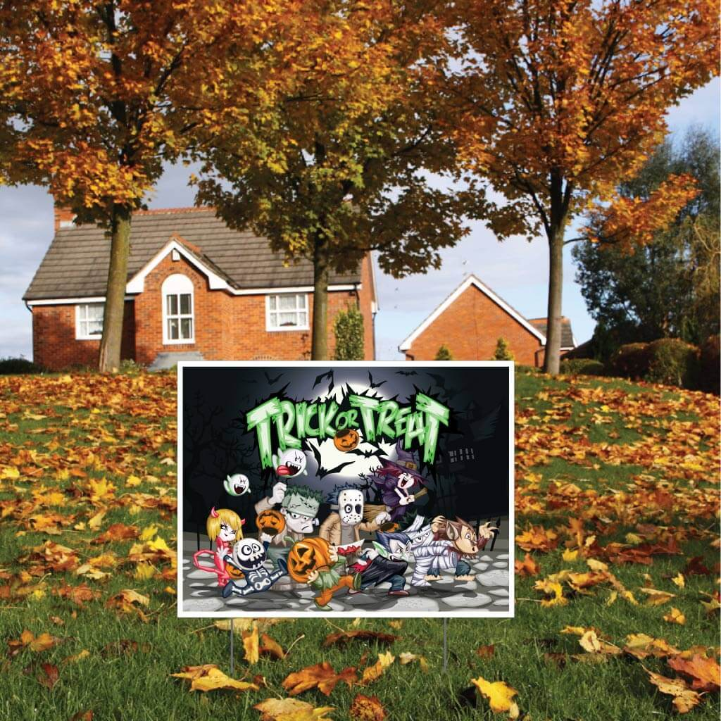 Trick or Treat Halloween Yard Sign Set of 2 with Stakes