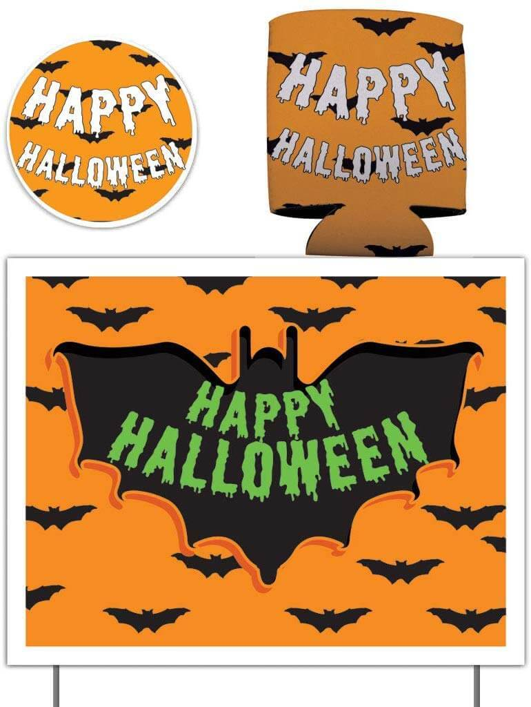 Happy Halloween Gift Pack - Yard Sign, Decal & Can Cooler - FREE SHIPPING