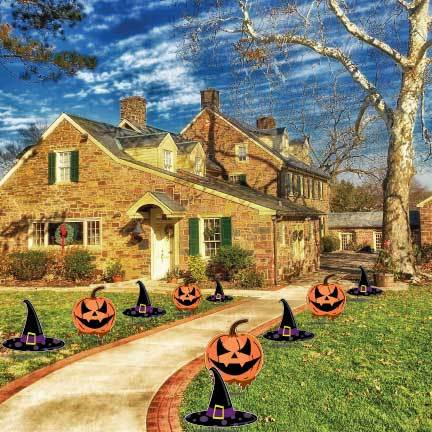 Jack O'Lantern and Witch Hats Yard Decorations