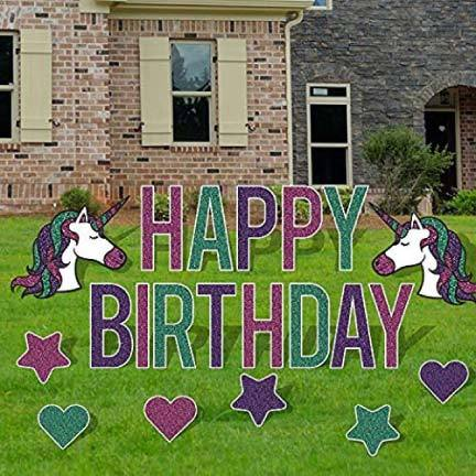 Happy Birthday Unicorn Themed Yard Letters and Decorations - FREE SHIPPING