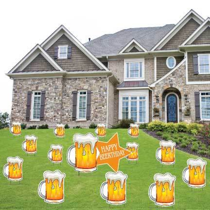 Happy Beerthday Beer Mugs Birthday Yard Decorations - FREE SHIPPING
