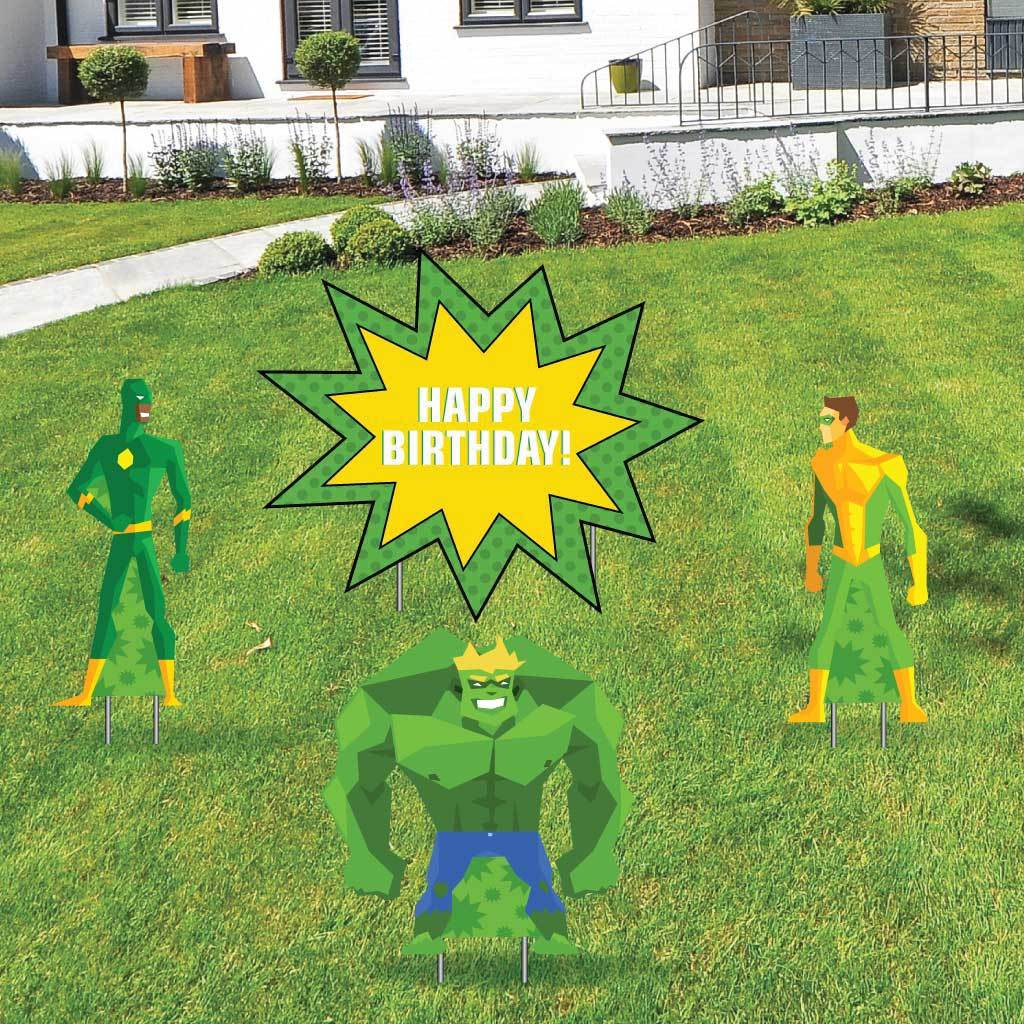 Happy Birthday Super Hero Yard Decoration