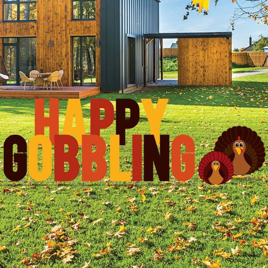 Happy Gobbling Thanksgiving Yard Letters 15 piece set FREE SHIPPING