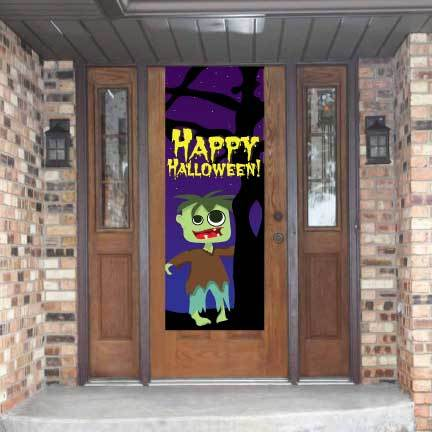 Happy Halloween Door Banner- Zombie Waterproof Vinyl Door Banner