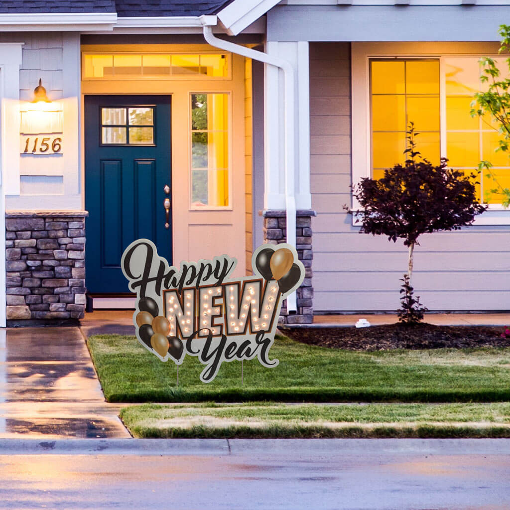 Happy New Years Lighted Yard Sign w/50 ct battery operated light string FREE SHIPPING (13778)