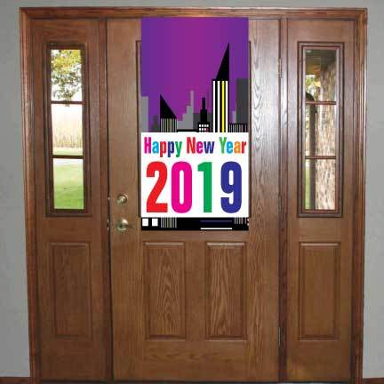 Happy New Year Waterproof Vinyl Door Banner