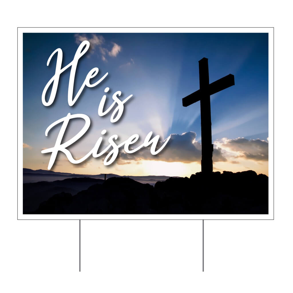 he is risen religious church sign