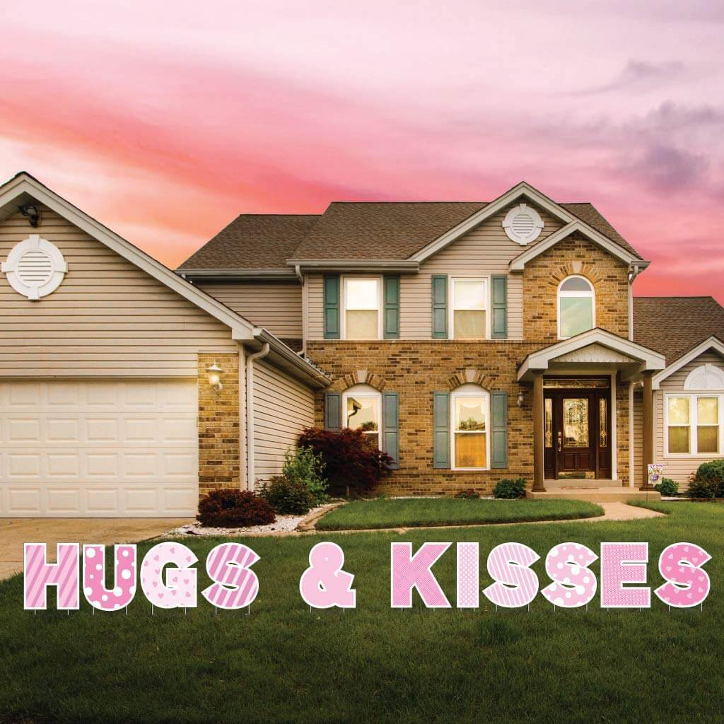 Hugs & Kisses Valentine's Day Yard Letter Decorations FREE SHIPPING