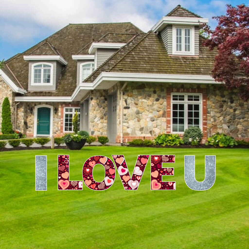 I LOVE YOU Silver Sparkle yard sign letters for Valentine's Day